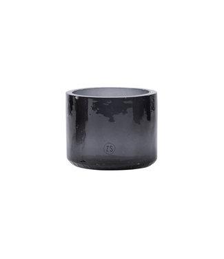 Zusss 05WL19vAzw waxinelichthouder gerecycled glas zwart