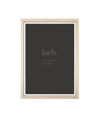 Zusss 05FL19vAlaA3 houten fotolijst met poster lach A3