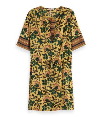 Maison Scotch 149839 Mixed print dress with waist drawcord