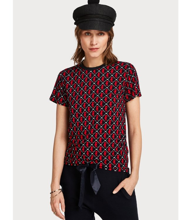 Amsterdams Blauw 153378 Allover printed short sleeve tee in soft quality