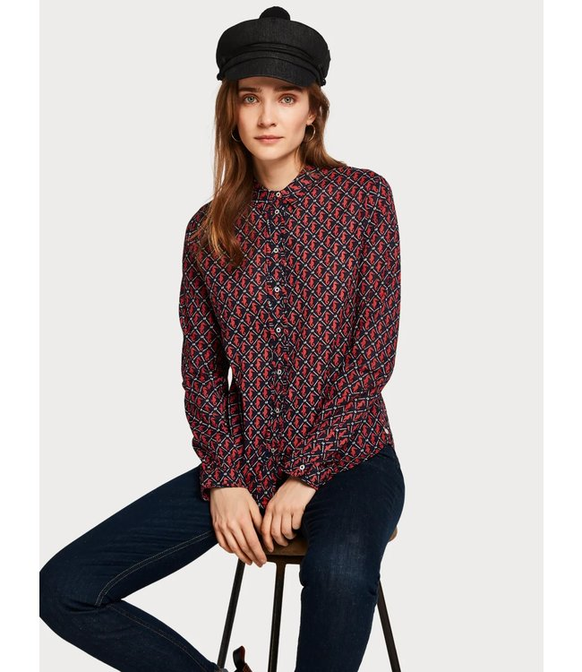 Amsterdams Blauw 150656 Classic long sleeve shirt with all over print