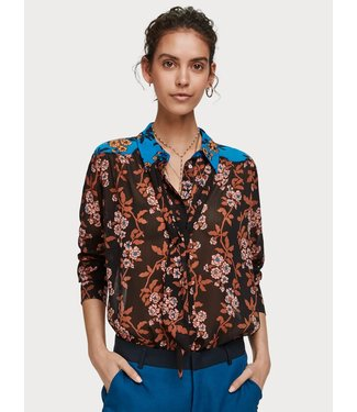 Maison Scotch 152454 Mixed print shirt with tie detail