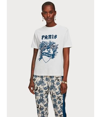 Maison Scotch 153037 Short sleeve tee with toile artwork