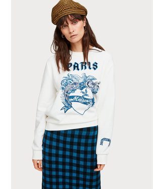 Maison Scotch 152981 Crewneck sweat with toile artwork