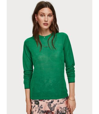 Maison Scotch 153016 Lurex long sleeve tee with rib details