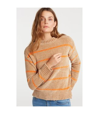 Yaya 1000178-922 Chenille sweater with striped print
