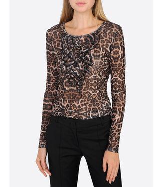 Summum 3s4311-30094 Long sleeve leopard print mesh