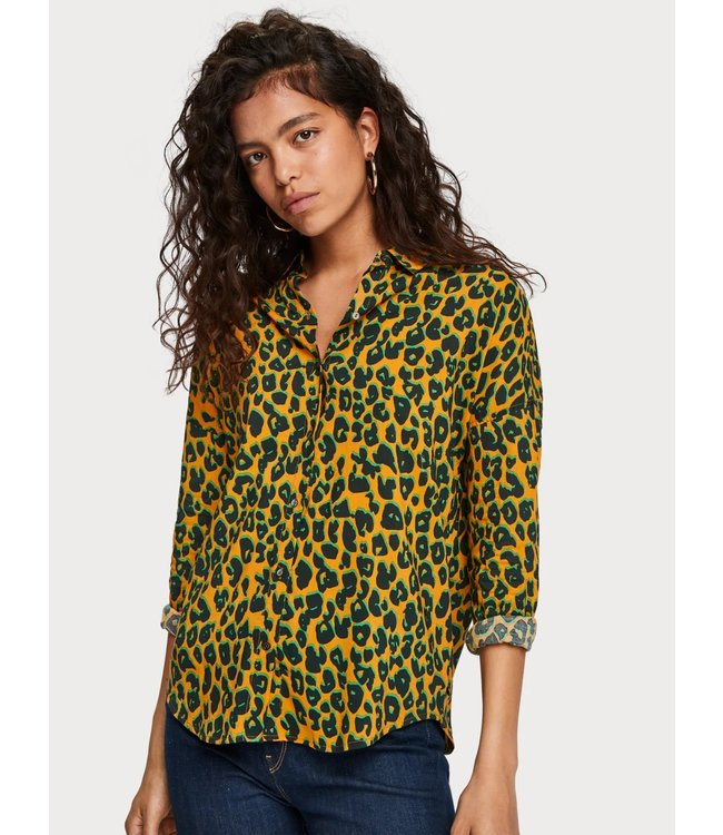 Maison Scotch 154267 Oversized boxy fit cotton viscose shirt in various prints