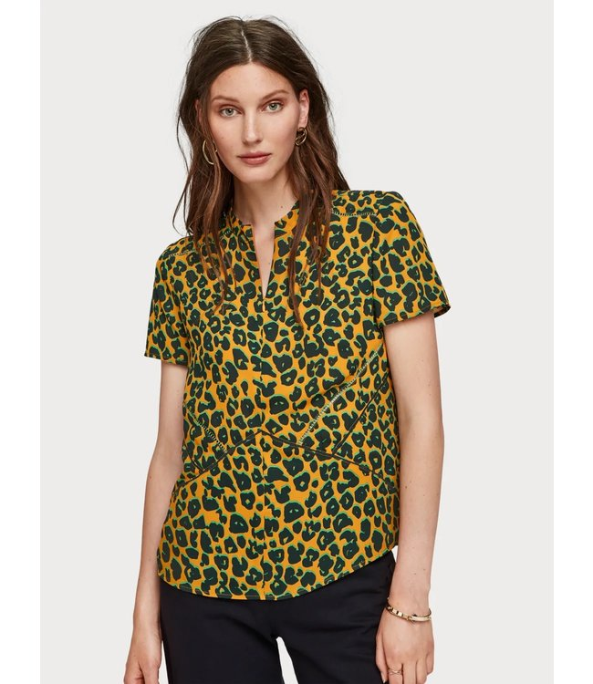 Maison Scotch 152491 Short sleeve printed top with ladder tape details