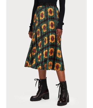 Maison Scotch 153307 Printed pleated midi length skirt