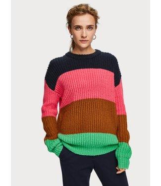 Maison Scotch 153439 Colour block crewneck  pullover
