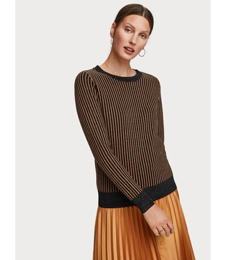 Maison Scotch 153206 Basic pull with lurex & striped ribs