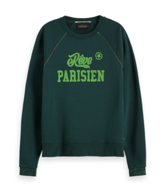 Maison Scotch 153002 Crewneck sweat with bold artwork & lurex piping