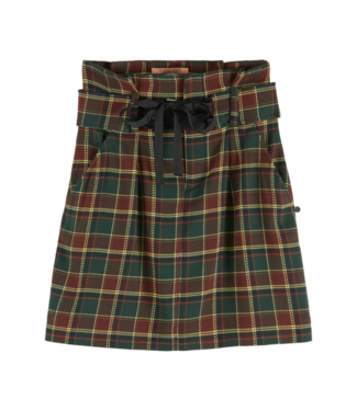 Maison Scotch 152587 High waisted checked skirt with fabric belt