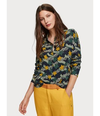 Maison Scotch 152472 Oversized boxy fit cotton viscose shirt in various prints