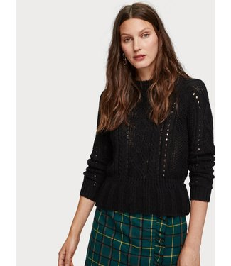 Maison Scotch 153194 Chunky cable knit with peplum