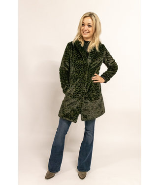 Yaya 161132-923 Faux fur coat with leopard print