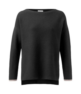 Yaya 100030-923 Cotton sweater with ribbed sleeves