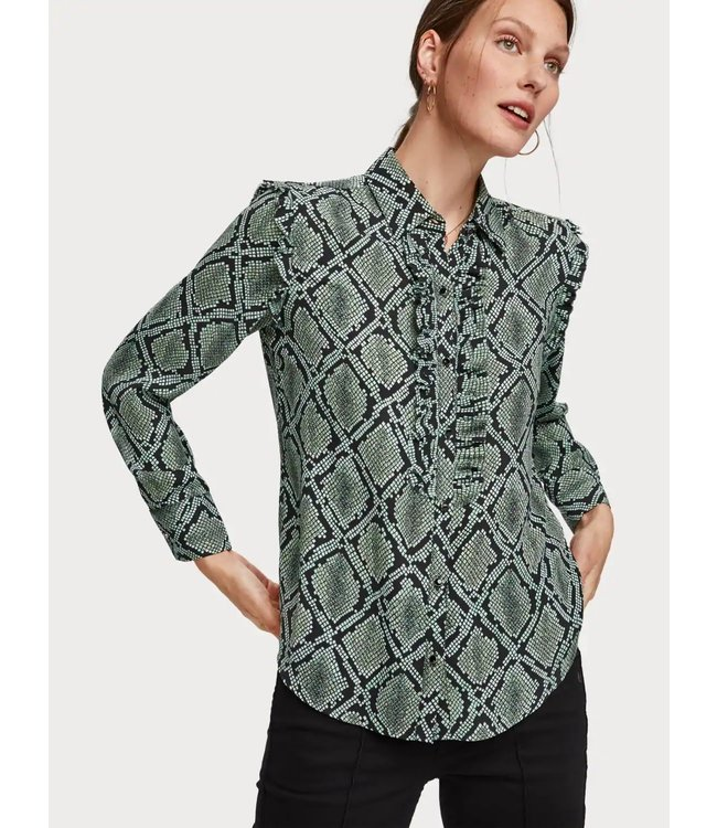 Maison Scotch 152474 Regular fit printed shirt with ruffle detail