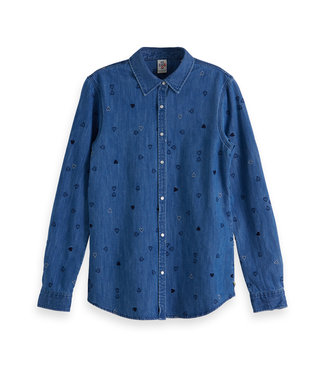 Amsterdams Blauw 147758-18 Denim allover embroidered western shirt