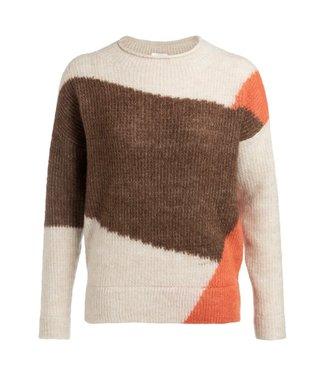 Yaya 1000190-924 Ribbed intarsia sweater