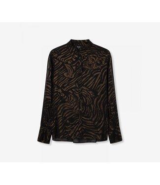 Alix 197985370 ladies woven tiger chiffon blouse