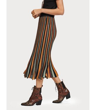 Maison Scotch 152603 Pleated midi length skirt in multicolour lurex stripe