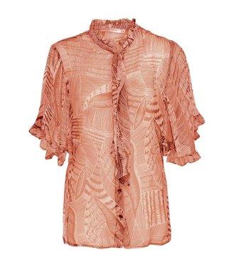 Summum Woman 2s2219-10791 Top short sleeve leaves print
