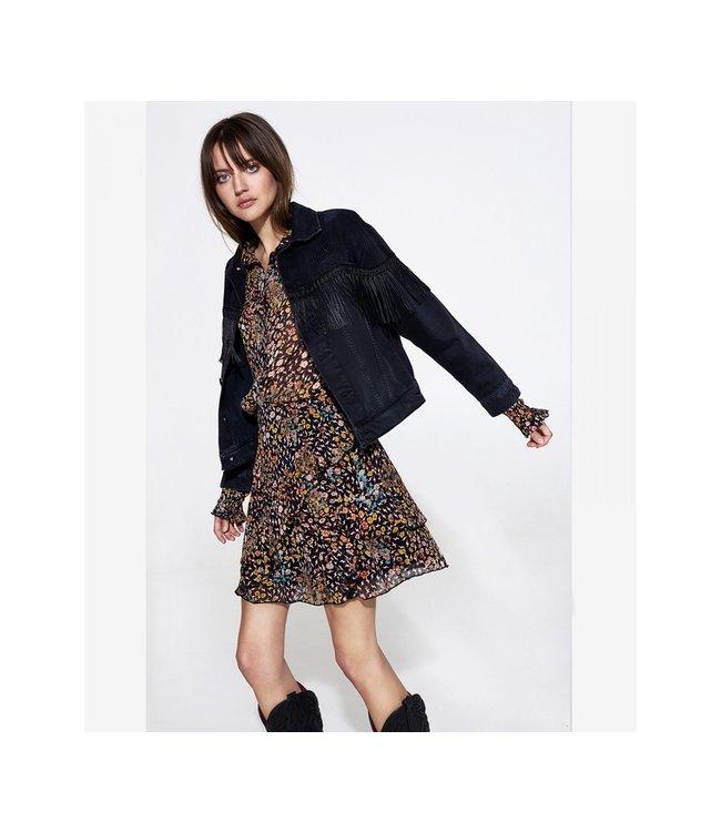 Alix the Label 198425381 Ladies Woven denim jacket with fringes