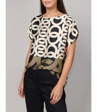 Summum Woman 2s2386-11106 Top short sleeves border print