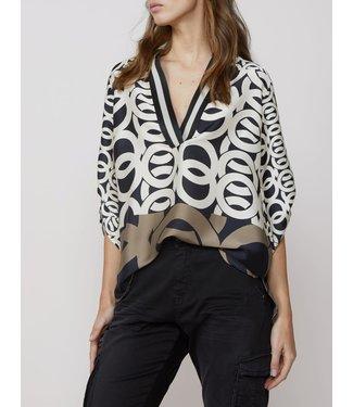 Summum Woman 2s2407-11106 Top v neck border print