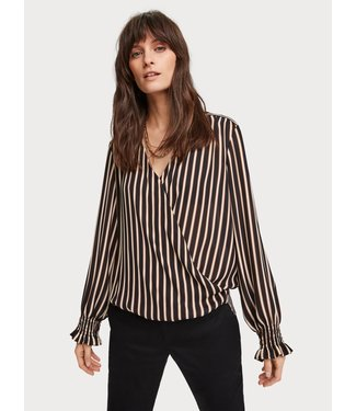 Maison Scotch 155912 Wrap-over top with smocked cuff