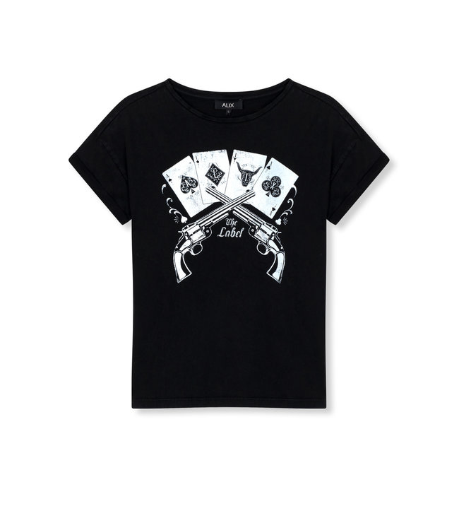Alix the Label 201836447 ladies knitted vintage playing cards t-shirt