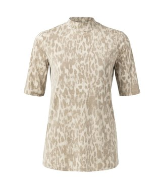 Yaya 1919126-012 High neck T-shirt with leopard print
