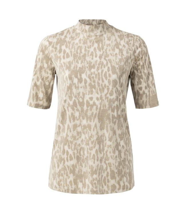 Yaya 1919126-012 High neck T-shirt with leopard print