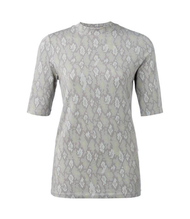 Yaya 1919129-012 High neck T-shirt with snake print