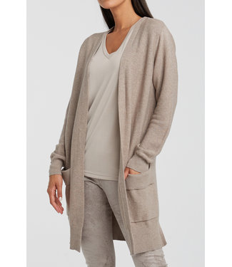 Yaya 101070-012 Cotton ribbed cardigan with folded pockets
