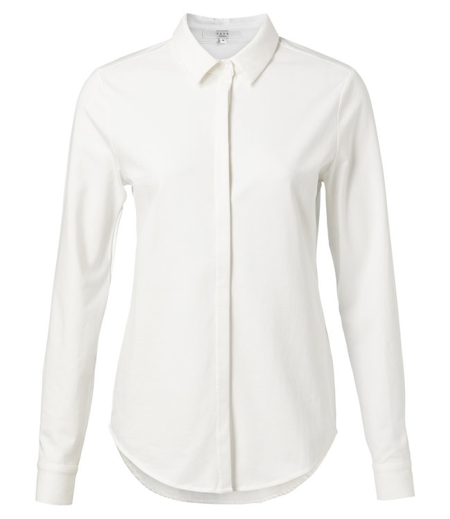 Yaya 1109150-012 Cotton blend shirt with concealed closure