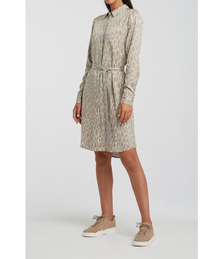 Yaya 1801201-012 Belted button up midi dress with snake print