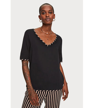 Maison Scotch 156182 V-neck tee with woven front panel and bindings.