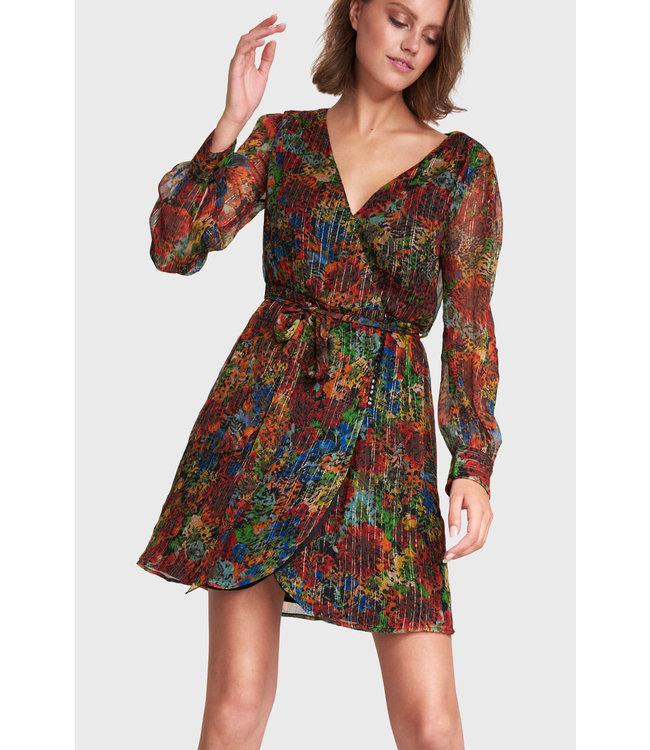 Alix the Label 201351494 ladies woven flower lurex short dress
