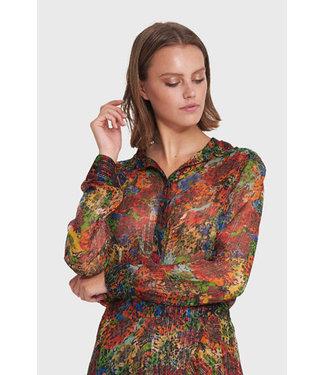 Alix the Label 201951495 ladies woven flower lurex blouse
