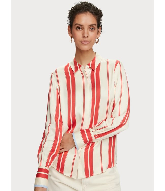 Maison Scotch 156022 Regular fit clean viscose shirt with poplin details