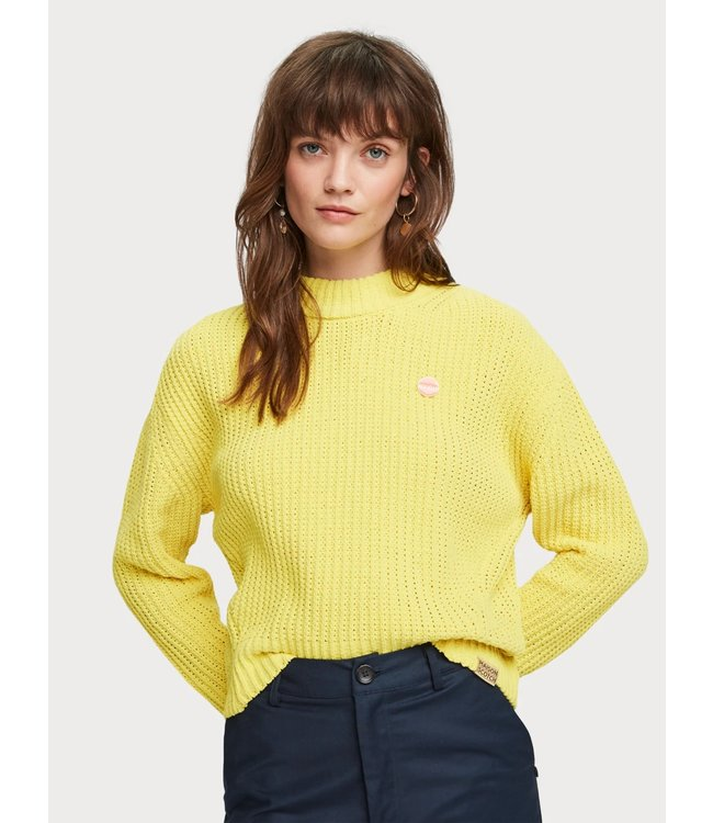 Maison Scotch 156269 Solid crochet pullover in chenille quality
