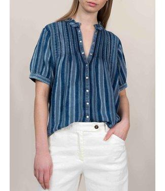 Summum Woman 2s2403-11159 Ruffle top slvless indigo stripe dobby