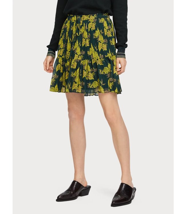 Maison Scotch 156003 Printed skirt with pleats