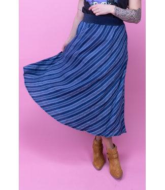 Summum Woman 6s1137-11159 Skirt indigo stripe dobby