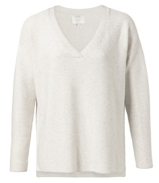 Yaya 1000271-013 Cotton mix ribbed sweater with small splits on sides