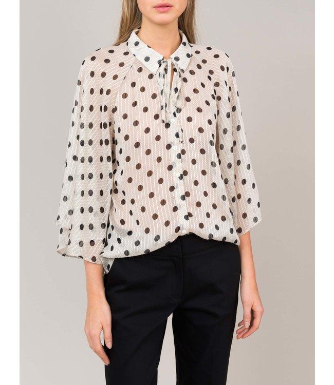 Summum Woman 2s2405-11170 Shirt wide long slv dot artisilk