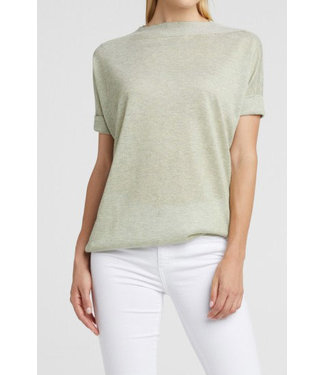 Yaya 1000253-013 Lurex boat neck sweater with ribbed detail on back